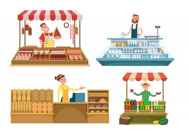 현지 시장. 신선한 농장 음식, 고기, 빵집 및 우유.