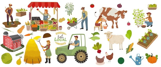 Local organic production icons set. farmers do agricultural work.