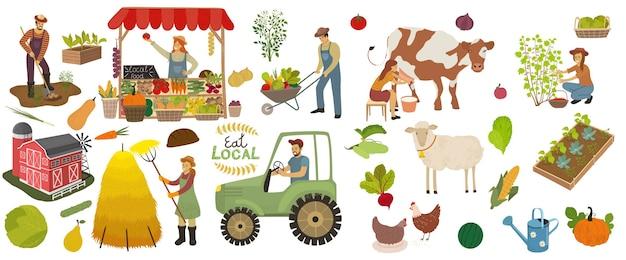 Набор иконок местного органического производства. фермеры выполняют сельскохозяйственные работы.