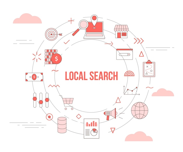 Local search concept with  set template banner with circle round shape