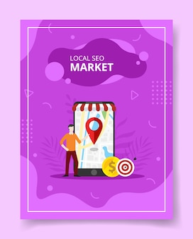 Local seo market men stand front giant smartphone pointer location on display, poster.