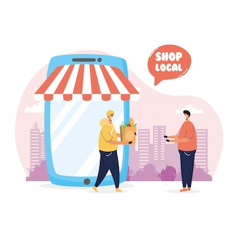 Local shop campaign in tablet with delivery worker and client illustration design