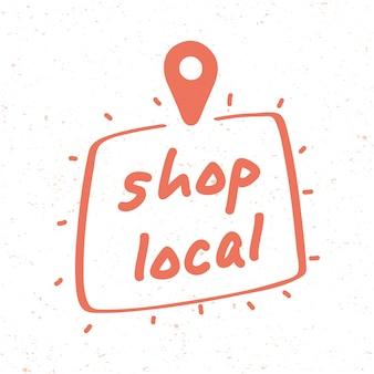 Кампания местного магазина с надписью и местоположением булавки