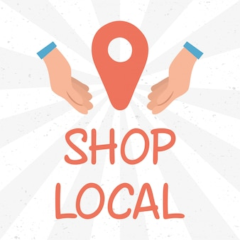 Local shop campaign with lettering and hands lifting pin location