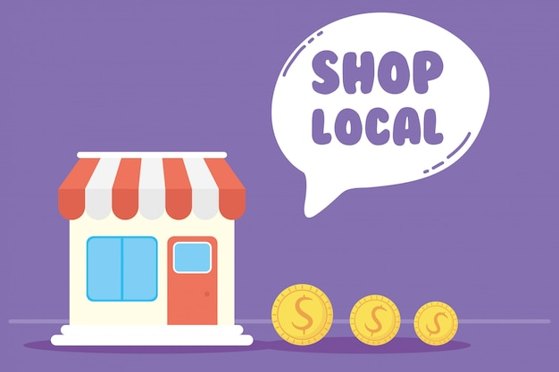 Local shop campaign with lettering in speech bubble and store building