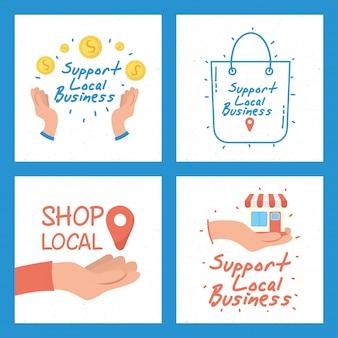 Кампания местного магазина с надписями и набором значков