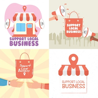 Local shop campaign with letterings and set icons