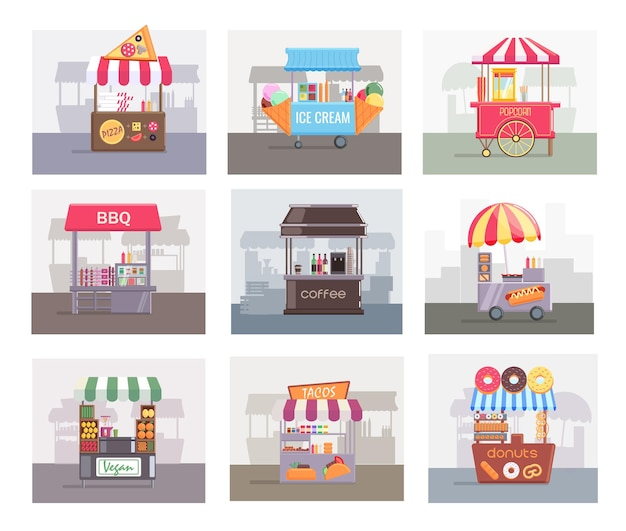 Local stall market selling different food and drink set. retail fair tent stand, booth cart counter storefront offering ice cream, barbecue grill vector illustration isolated on white background