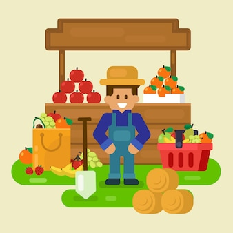 Local store, fresh fruit with merchant  illustration