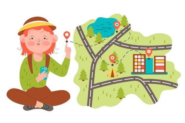 Иллюстрированная концепция местного туризма