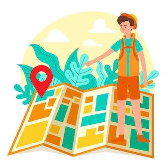 지도와 지역 관광 개념