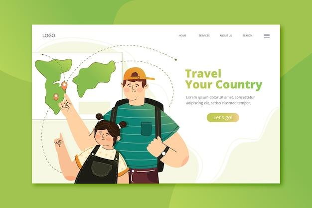 Modello di landing page del turismo locale con illustrazioni