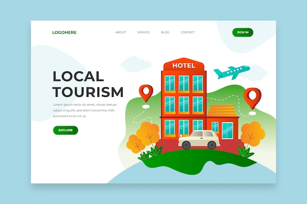 Local tourism landing page webtemplate