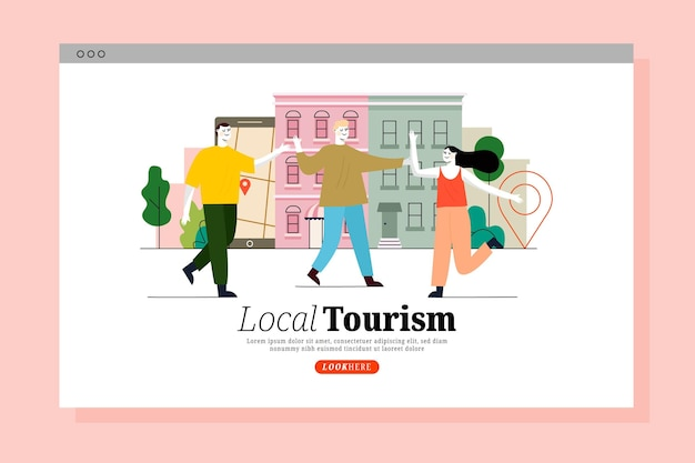 Local tourism with people landing page