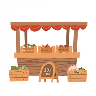 Local vegetable stall. fresh organic food products shop on wooden shelves. local market farmer selling vegetables on his stall with awning. promote healthy eating concept. flat illustration