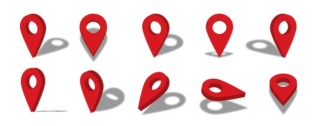 Location 3d icon illustration with different views and angles
