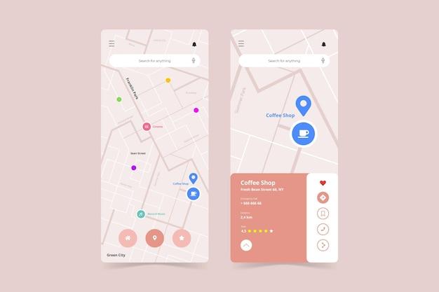 Шаблон интерфейса приложения геолокации на смартфоне