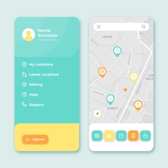 ロケーションアプリのインターフェース