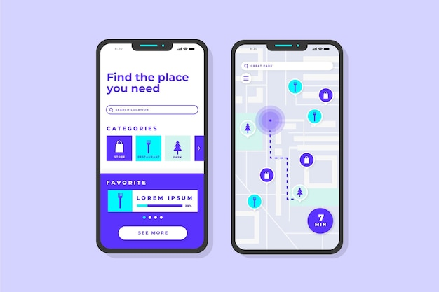Location app screens