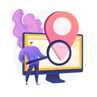 Location based advertisement. geolocation software, online gps app, navigation system. geographic restriction. man searching address with magnifier. vector isolated concept metaphor illustration