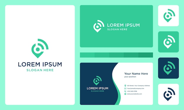 Location and connection or signal logo. premium vector. business card.