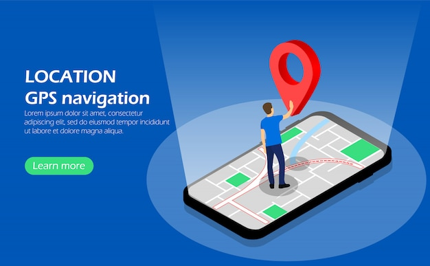 Location. gps navigation. character on phone