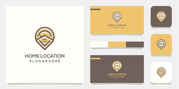 場所の家のロゴのデザインテンプレート。家と組み合わせた場所