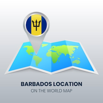 Location icon of barbados on the world map
