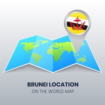 Location icon of brunei on the world map, round pin icon of brunei