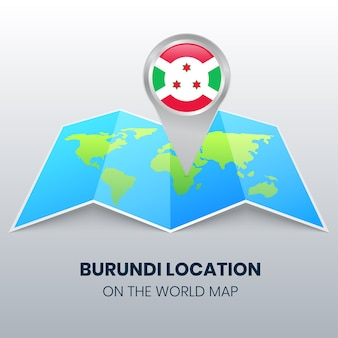 Location icon of burundi on the world map, round pin icon of burundi