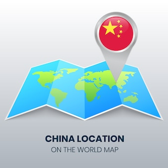 Location icon of china on the world map, round pin icon of china