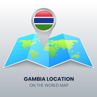 Location icon of gambia on the world map, round pin icon of gambia