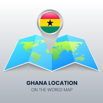 Location icon of ghana on the world map