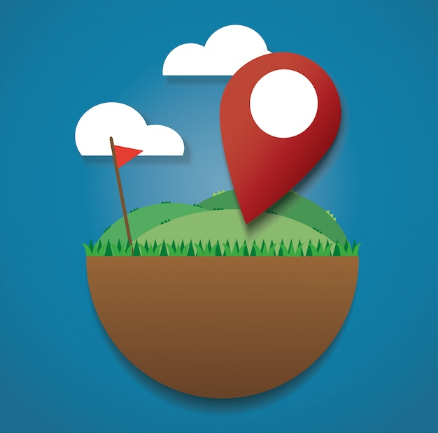 Location icon on the green field