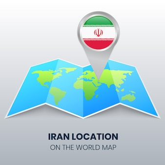 Location icon of iran on the world map, round pin icon of iran