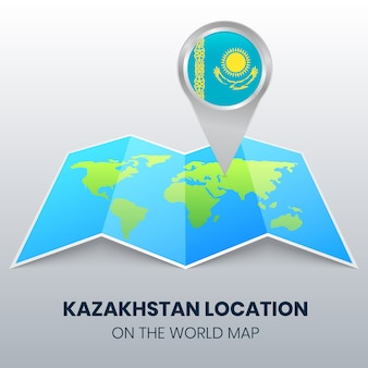 Location icon of kazakhstan on the world map