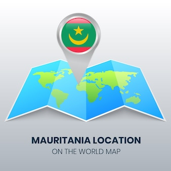 Location icon of mauritania on the world map, round pin icon of mauritania