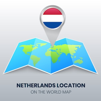 Location icon of netherlands on the world map