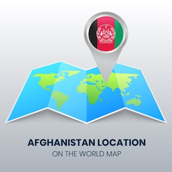 世界地図上のアフガニスタンの場所アイコン、アフガニスタンの丸ピンアイコン