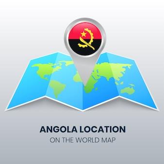 世界地図上のアンゴラの場所アイコン、アンゴラの丸いピンアイコン
