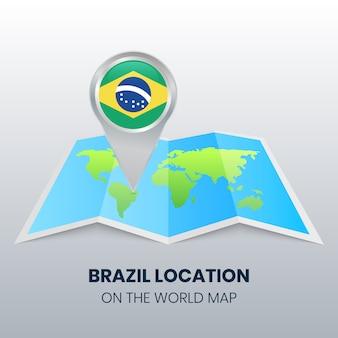 世界地図上のブラジルの場所アイコン