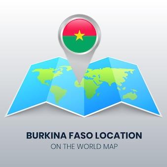 世界地図上のブルキナファソの場所アイコン、ブルキナファソの丸いピンアイコン