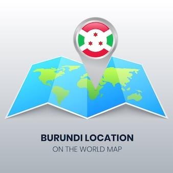 世界地図上のブルンジの場所アイコン、ブルンジの丸いピンアイコン