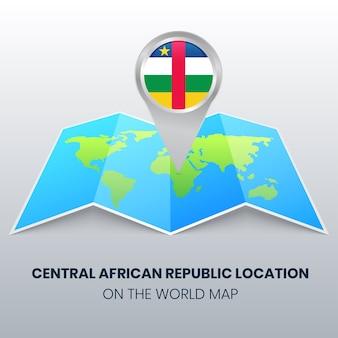 世界地図上の中央アフリカ共和国の場所アイコン、中央アフリカの丸いピンアイコン