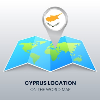 世界地図上のキプロスの場所アイコン