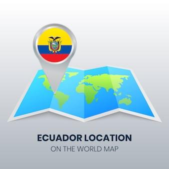 Значок местоположения эквадора на карте мира