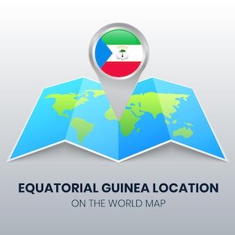世界地図上の赤道ギニアの場所アイコン、赤道ギニアの丸いピンアイコン