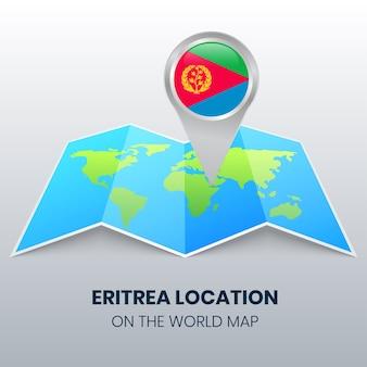 世界地図上のエリトリアの場所アイコンエリトリアの丸いピンアイコン