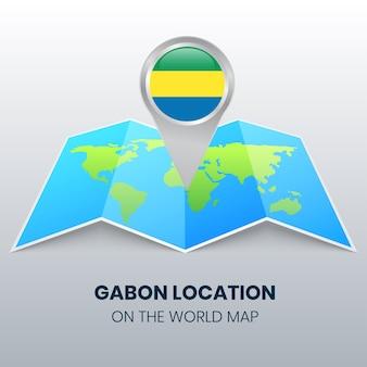 世界地図上のガボンの位置アイコン、ガボンの丸いピンアイコン