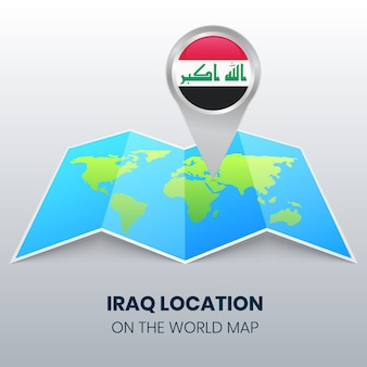 世界地図上のイラクの場所アイコン、イラクの丸いピンアイコン